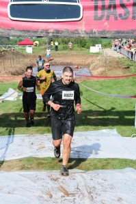 Crossing the finish at the warrior dash